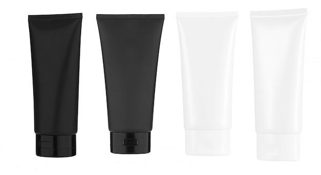 Kosmetikprodukte verspotten sich auf einem weißen hintergrund. kosmetische paketsammlung. isoliert.