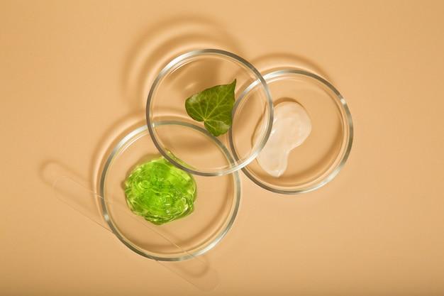Kosmetische hautpflegeprodukte in petrischalen auf beigem hintergrund. aloe-gel, feuchtigkeitscreme-naturkosmetik für die kosmetologie in laborglaswaren. ansicht von oben.