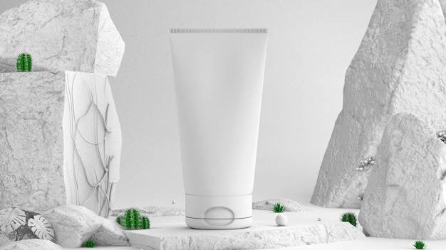 Kosmetische modelle 3d rendern steine an den seiten