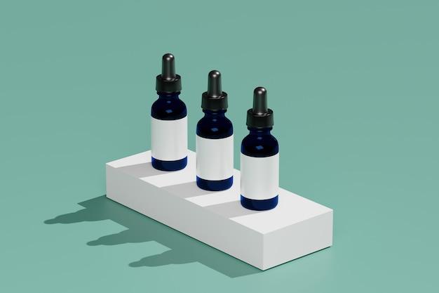Kosmetische modelle der 3d-renderingflasche. mock-up-szene mit podium für die produktanzeige. grüner hintergrund