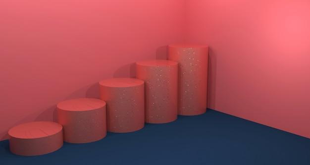 Kosmetische produktanzeige mit korallenroter und blauer marinefarbe. hintergrund-3d-rendering.