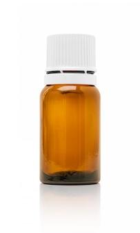 Kosmetische serumflasche der leeren verpackung lokalisiert auf weißem hintergrund