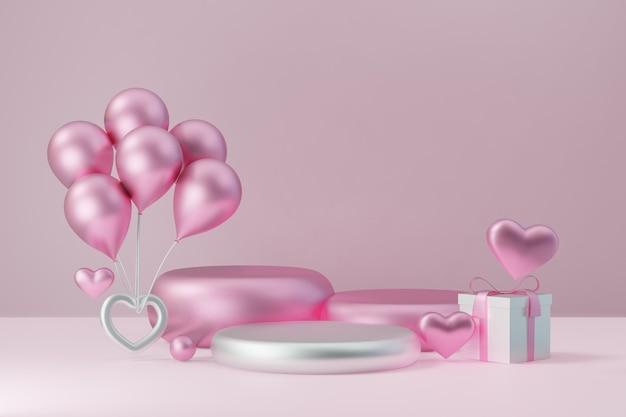 Kosmetischer display-produktständer, drei rosa weißes zylinderblock-podium mit ballon-geschenkbox und herz auf rosa hintergrund. 3d-rendering-abbildung.