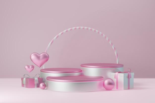 Kosmetischer display-produktständer, drei rosa weißes zylinderblockpodest mit kreisförmiger geschenkbox und herz auf rosafarbenem hintergrund. 3d-rendering-abbildung.