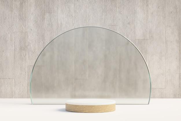 Kosmetischer display-produktständer, holz weißes zylinderpodest mit kreisförmiger mattglaswand und betonhintergrund. 3d-rendering-illustration