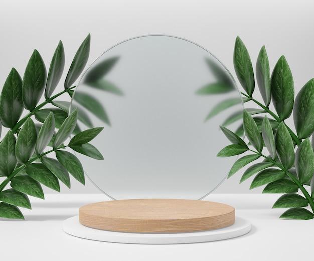Kosmetischer display-produktständer, holz-weißes zylinderpodest mit kreisförmiger mattglaswand und naturblatt auf hellem hintergrund. 3d-rendering-illustration