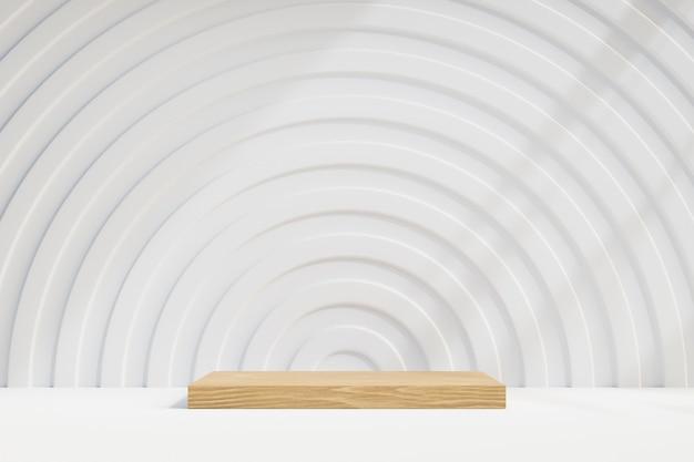 Kosmetischer display-produktständer, holzblockpodium mit weißer kreiswand auf hellem hintergrund. 3d-rendering-illustration