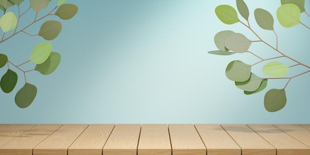 Kosmetischer display-produktständer, holzbrett-tisch und grüne blattpflanze auf blauem hintergrund. 3d-rendering-illustration