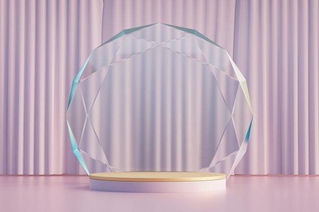 Kosmetischer display-produktständer, holzrosa-zylinderpodest mit kreisdiamantwand und rosa vorhang. 3d-rendering-illustration