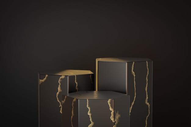 Kosmetischer display-produktständer, marmor-sechskant-zylinder-podium aus schwarzem gold auf schwarzem hintergrund. 3d-rendering-illustration Premium Fotos