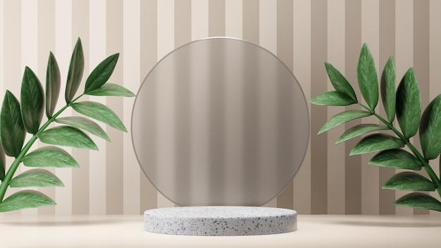 Kosmetischer display-produktständer, marmorzylinderpodium mit kreisförmiger mattglaswand und naturblatt auf hellem hintergrund. 3d-rendering-illustration