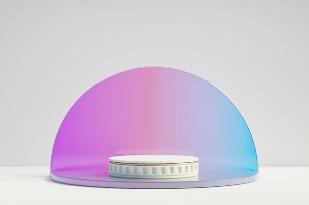 Kosmetischer display-produktständer, römisches weißes zylinderpodest mit violettem farbkreisglas auf weißem hintergrund. 3d-rendering-illustration
