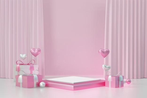 Kosmetischer display-produktständer, rosa weißes quadratisches blockpodest mit herz und geschenkbox auf rosafarbenem hintergrund. 3d-rendering-abbildung.