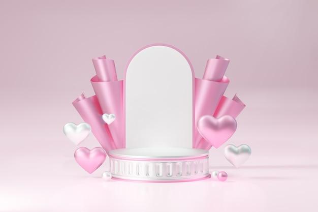 Kosmetischer display-produktständer, rosa weißes rundes zylinder-römisches podium mit herz- und bogenwand auf rosafarbenem hintergrund. 3d-rendering-abbildung.