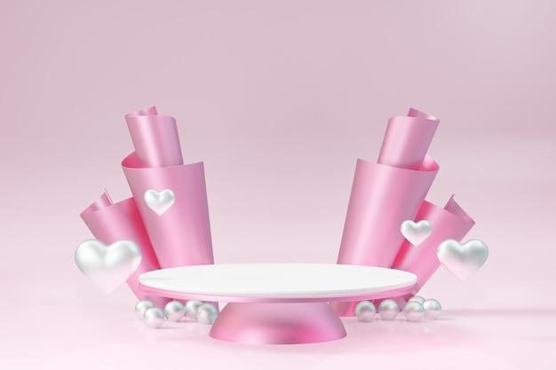 Kosmetischer display-produktständer, rosa weißes rundes zylinderpodest mit herz und rosa rollendekoration auf rosafarbenem hintergrund. 3d-rendering-abbildung.