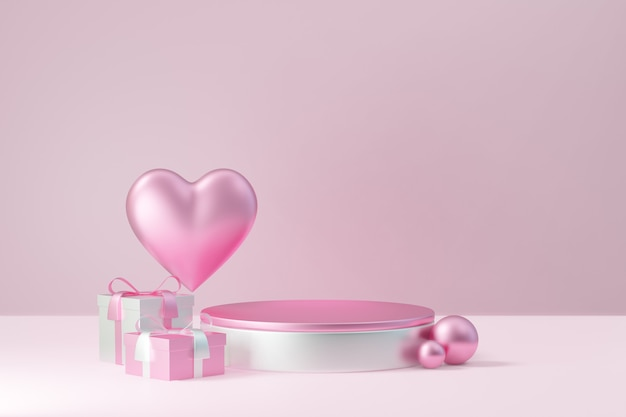 Kosmetischer display-produktständer, rosa weißes rundes zylinderpodest mit herzkugel und geschenkbox auf rosafarbenem hintergrund. 3d-rendering-abbildung.