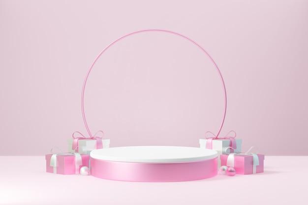 Kosmetischer display-produktständer, rosa weißes rundes zylinderpodest mit kreiskugel und geschenkbox auf rosafarbenem hintergrund. 3d-rendering-abbildung.