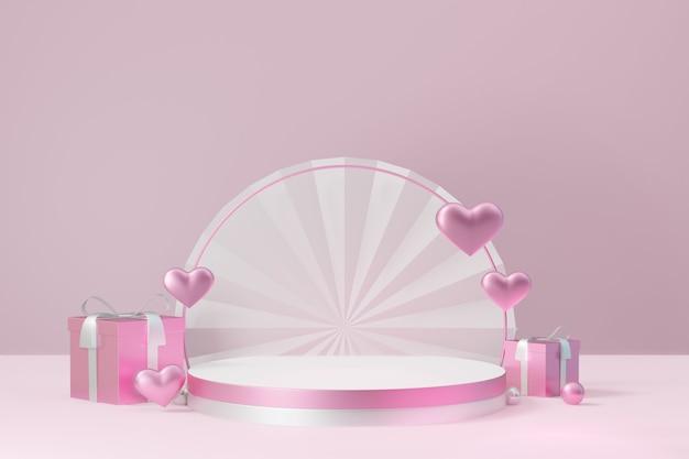 Kosmetischer display-produktständer, rosa-weißes zylinderblock-podium mit herz und geschenkbox auf rosafarbenem hintergrund. 3d-rendering-abbildung.