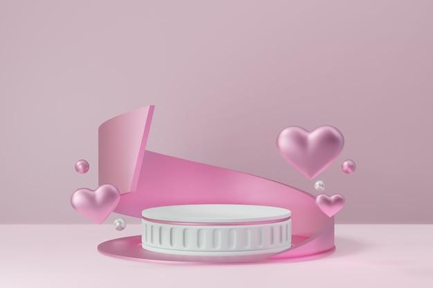 Kosmetischer display-produktständer, rosa weißes zylinderblock-römisches podium mit kurvenfarm und herz auf rosafarbenem hintergrund. 3d-rendering-abbildung.