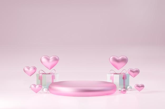 Kosmetischer display-produktständer, rosafarbenes rundzylinderpodest mit herz- und geschenkboxdekoration auf rosafarbenem hintergrund. 3d-rendering-abbildung.