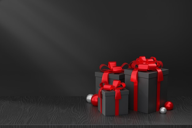Kosmetischer display-produktständer, schwarz-rote geschenkbox auf schwarzem holzboden auf dunklem hintergrund. 3d-rendering-illustration
