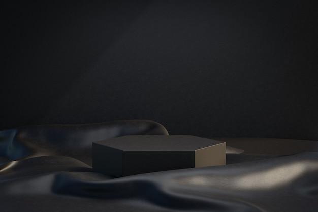 Kosmetischer display-produktständer, schwarzes hexagon-podium mit lederstoff auf dunklem hintergrund. 3d-rendering-illustration