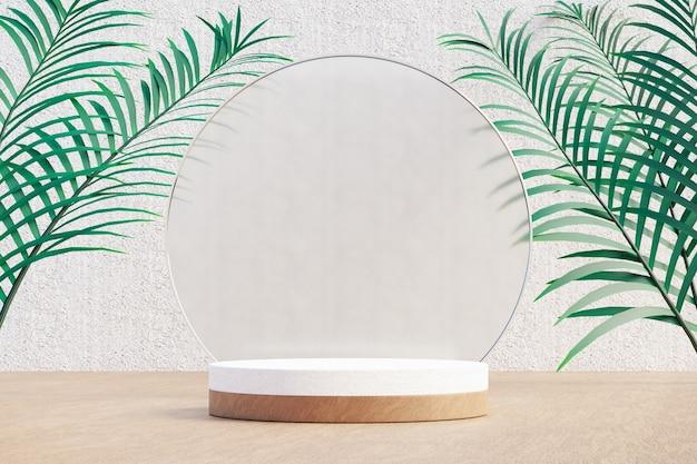 Kosmetischer display-produktständer, weißes holzzylinderpodium mit kreisglaswand und naturpalmenblatt auf hellem hintergrund. 3d-rendering-illustration