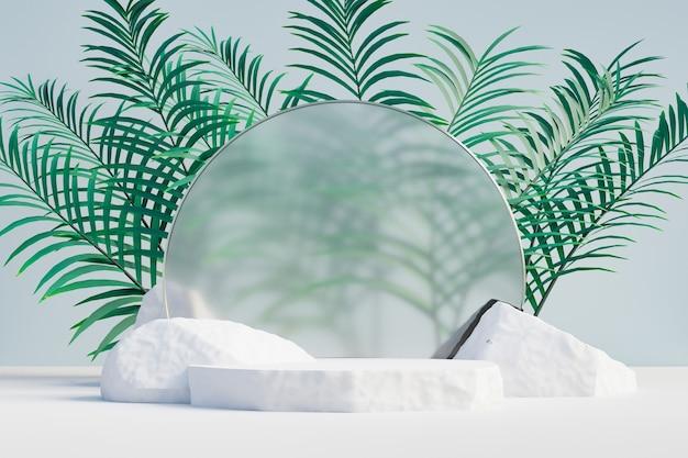 Kosmetischer display-produktständer, weißes steinpodium mit kreisglaswand und naturpalmblatt auf hellem hintergrund. 3d-rendering-illustration