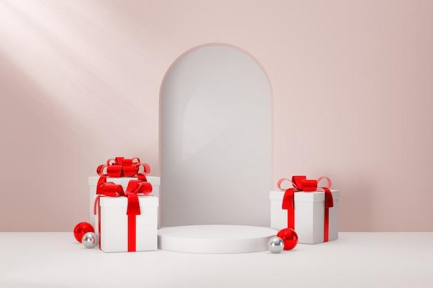 Kosmetischer display-produktständer, weißes zylinderpodium und weiß-rote geschenkbox auf rosafarbenem hintergrund. 3d-rendering-illustration