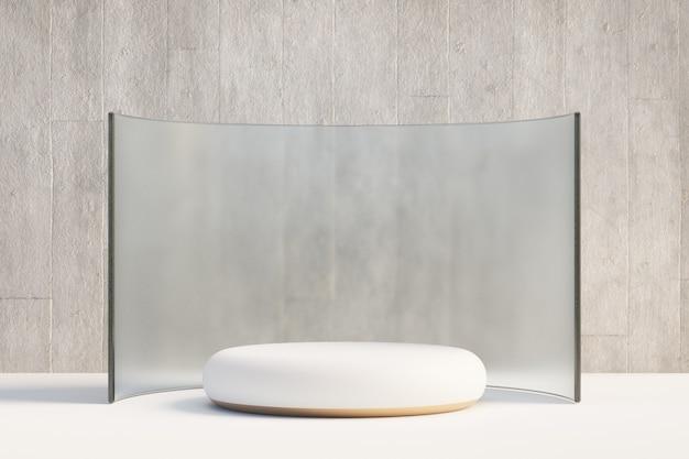 Kosmetischer display-produktständer, weißgold-rundzylinder-podium mit kurvenmatter glaswand und betonhintergrund. 3d-rendering-illustration