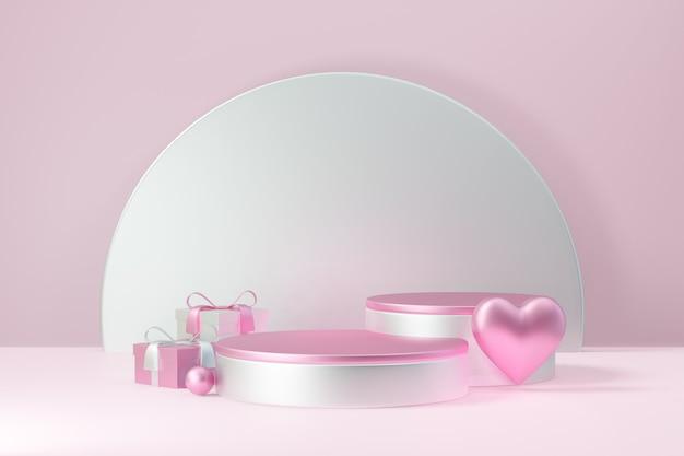 Kosmetischer display-produktständer, zwei rosa weißes rundzylinderpodium mit herzkugel und geschenkbox auf rosafarbenem hintergrund. 3d-rendering-abbildung.