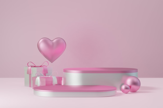 Kosmetischer display-produktständer, zwei rosafarbenes weißes zylinderblockpodest mit geschenkbox und herz auf rosafarbenem hintergrund. 3d-rendering-abbildung.