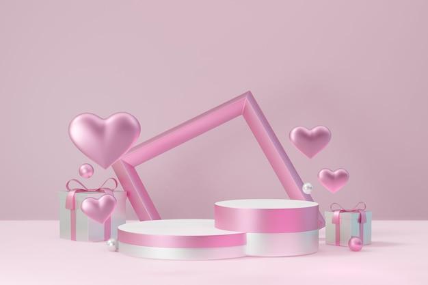 Kosmetischer display-produktständer, zwei rosafarbenes weißes zylinderblockpodest mit rahmenherz und geschenkbox auf rosafarbenem hintergrund. 3d-rendering-abbildung.