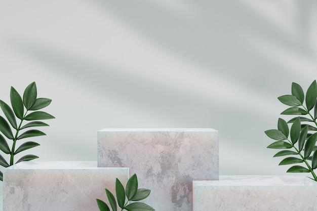 Kosmetischer display-produktstand, drei marmor weißes blockpodium mit grüner blattpflanze auf weißem hintergrund. 3d-rendering-illustration