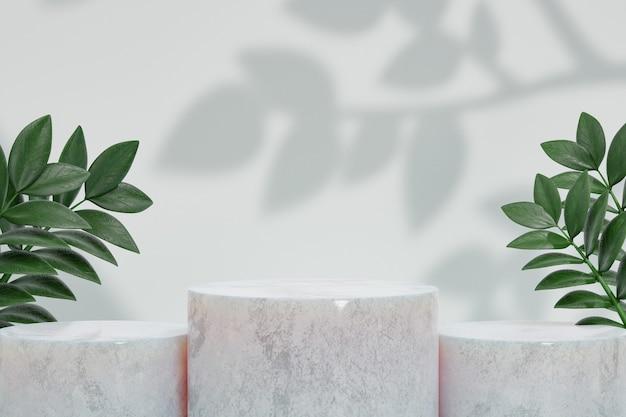 Kosmetischer display-produktstand, drei-marmor-weißes zylinderpodest mit grüner blattpflanze auf weißem hintergrund. 3d-rendering-illustration
