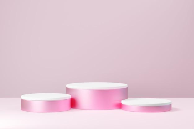 Kosmetischer display-produktstand, drei rosa weißes rundes zylinderpodest auf rosafarbenem hintergrund. 3d-rendering-abbildung.