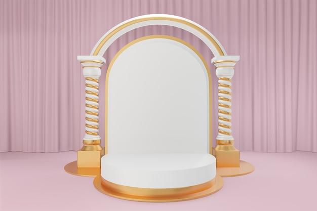 Kosmetischer display-produktstand, goldweißes rundzylinderpodium mit griechischen bogensäulen aus weißgold und goldballons auf rosafarbenem vorhanghintergrund 3d-rendering-illustration