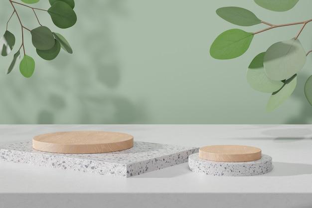 Kosmetischer display-produktstand, holzzylinderpodium auf weißem marmorblock und grüne blattpflanze auf grünem hintergrund. 3d-rendering-illustration