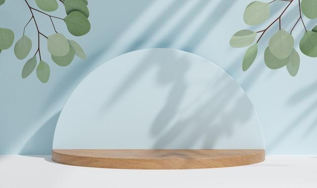 Kosmetischer display-produktstand, holzzylinderpodium mit kreiswand und grüner blattpflanze auf blauem hintergrund. 3d-rendering-illustration