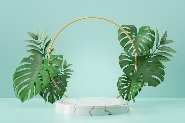 Kosmetischer display-produktstand, marmor weißes zylinderpodium und goldring und pflanzenblatt auf weißem hintergrund. 3d-rendering-illustration
