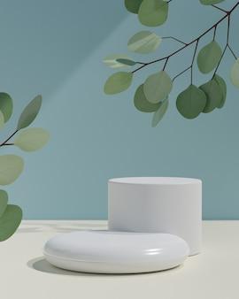 Kosmetischer display-produktstand, podium mit zwei weißen zylinderstangen und grüne blattpflanze auf blauem hintergrund. 3d-rendering-illustration
