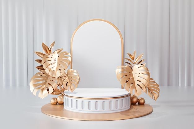 Kosmetischer display-produktstand, römisches weißes zylinderpodium und goldenes pflanzenblatt auf weißem hintergrund. 3d-rendering-illustration