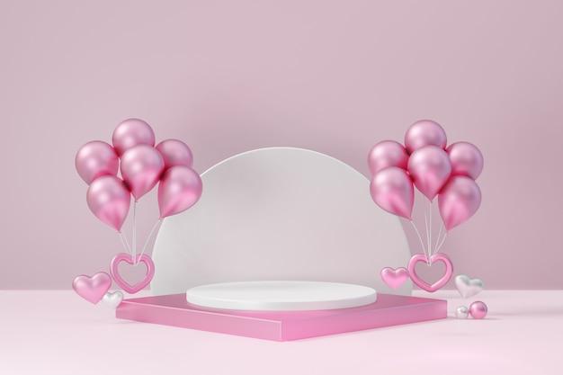 Kosmetischer display-produktstand, rosa weißes quadratisches blockpodest mit herz und ballon auf rosa hintergrund. 3d-rendering-abbildung.