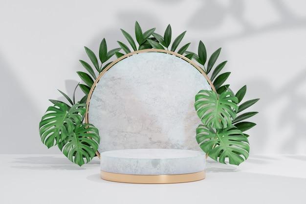 Kosmetischer display-produktstand, transparentes marmor-weißes zylinderpodest mit grüner blattpflanze auf weißem hintergrund. 3d-rendering-illustration