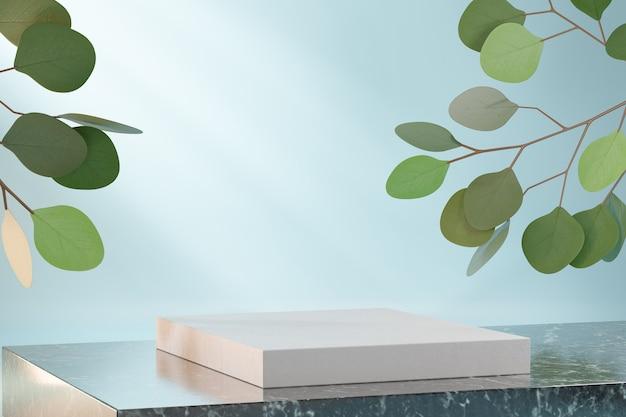 Kosmetischer display-produktstand, weißes blockpodium auf dunklem marmorblock und grüne blattpflanze auf blauem hintergrund. 3d-rendering-illustration