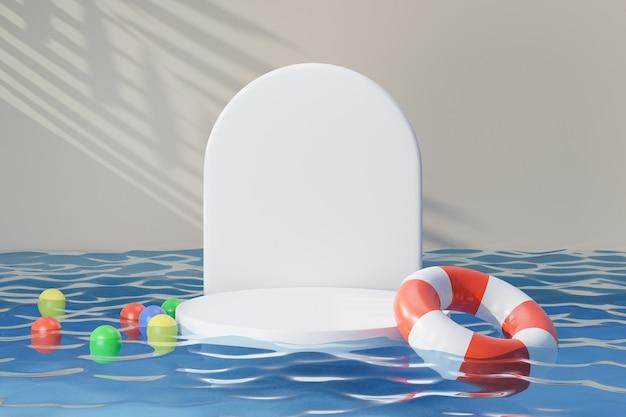 Kosmetischer display-produktstand, weißes rundes podest auf blauem wasser reflektieren mit gummiringfarben-kunststoffbällen und sonnenlichtschattenhintergrund. 3d-rendering-illustration
