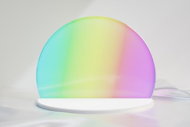 Kosmetischer display-produktstand, weißes rundes podium mit regenbogenkreisglas und weißem stoffboden auf dunklem hintergrund. 3d-rendering-illustration