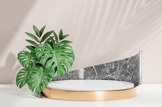 Kosmetischer display-produktstand, weißes zylinderpodium und schwarzer marmor und grünes pflanzenblatt auf weißem hintergrund. 3d-rendering-illustration