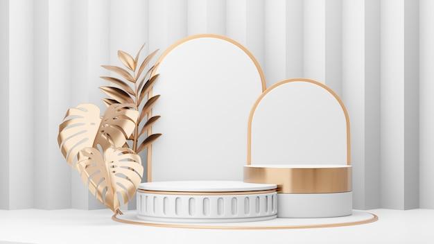 Kosmetischer display-produktstand, zwei römisches weißes zylinderpodium und goldenes pflanzenblatt auf weißem hintergrund. 3d-rendering-illustration