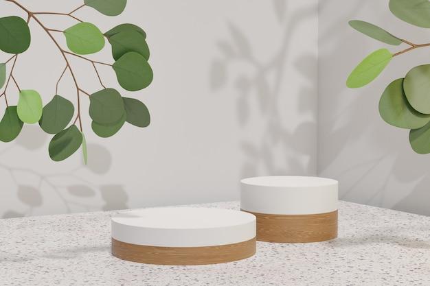 Kosmetischer display-produktstand, zwei weißes holzzylinderpodium und grüne blattpflanze auf blauem hintergrund. 3d-rendering-illustration